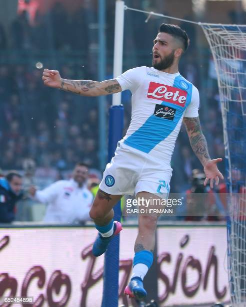 Napoli's Italian forward Lorenzo Insigne celebrates after scoring during the Italian Serie A football match SSC Napoli vs FC Crotone on March 12 2017...