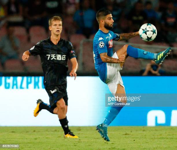 Napoli's Italian forward Lorenzo Insigne controls the ball during the UEFA Champions League Play Off first leg football match SSC Napoli vs OCG Nice...