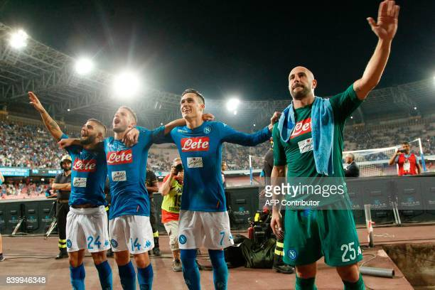 Napoli's Italian forward Lorenzo Insigne Napoli's Belgian forward Dries Mertens Napoli's Spanish forward Jose Maria Callejon and Napoli's Spanish...