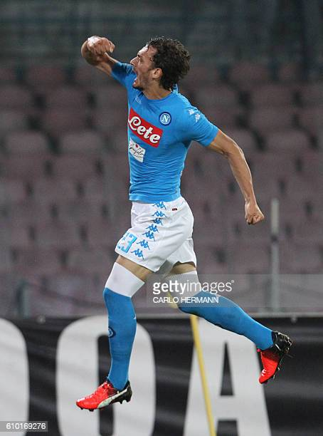 Napoli's Italian forward Manolo Gabbiadini celebrates after scoring a goal during the Italian Serie A football match SSC Napoli vs AC Chievo Verona...