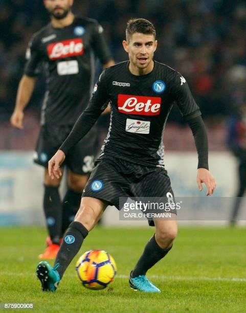 Napoli's Italian midfielder Jorginho controls the ball during the Italian Serie A football match SSC Napoli vs AC Milan on November 18 2017 at the...