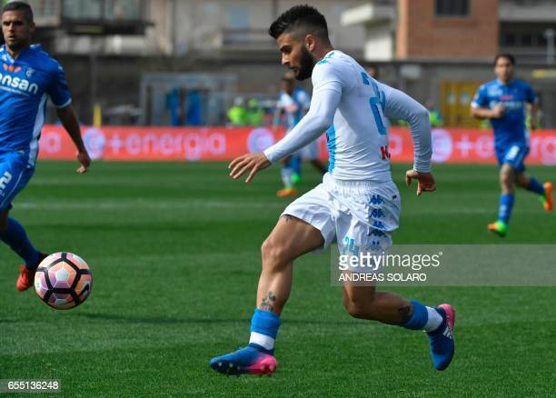 Napoli's Italian midfielder Lorenzo Insigne controls the ball during the Italian Serie A football match Empoli versus Napoli on March 19 2017 at the...