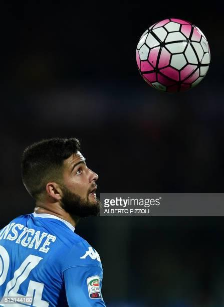 Napoli's Italian midfielder Lorenzo Insigne eyes the ball during the Italian Serie A football match between Acf Fiorentina and Napoli on February 29...