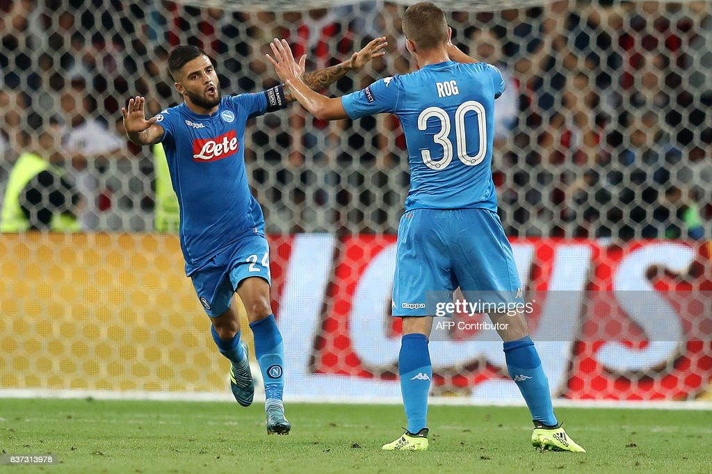 Napoli's Italian striker Lorenzo Insigne celebrates after scoring a goal during the UEFA Champions League play-off football match between Nice and Napoli at the Allianz Riviera stadium in Nice, southeastern France, on August 22, 2017. /