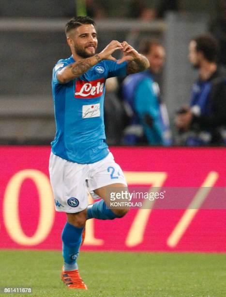 OLIMPICO ROME LAZIO ITALY Napoli's Italian striker Lorenzo Insigne celebrates after scoring during the Italian Serie A football match AS Roma vs SSc...