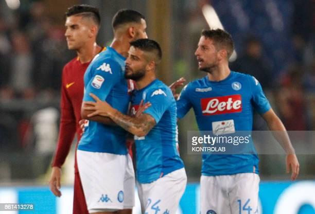 OLIMPICO ROME LAZIO ITALY Napoli's Italian striker Lorenzo Insigne celebrates after scoring with teammates during the Italian Serie A football match...
