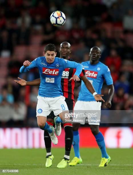 Napoli's Jorginho and Bournemouth's Benik Afobe during the preseason friendly at the Vitality Stadium Bournemouth