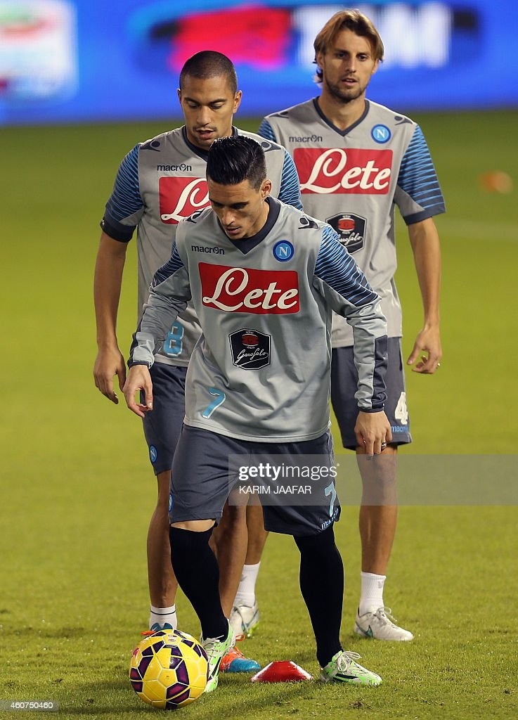 Napoli's Jose Callejon takes part in a training session in the Qatari capital Doha on December 21 on the eve of the Italian Super Cup final football...