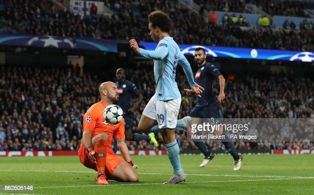 Napoli's Jose Reina saves an attempt from Manchester City's Leroy Sane during the UEFA Champions League group F match at The Etihad Stadium Manchester