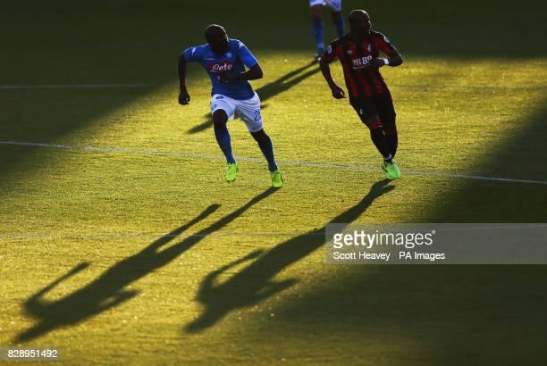 Napoli's Kalidou Kouibaly and Bournemouth's Benik Afobe during the preseason friendly at the Vitality Stadium Bournemouth