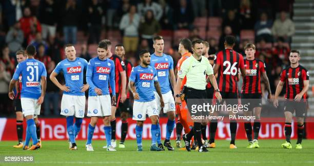 Napoli's Lorenzo Insigne has words with referee Stuart Attwell during the preseason friendly at the Vitality Stadium Bournemouth