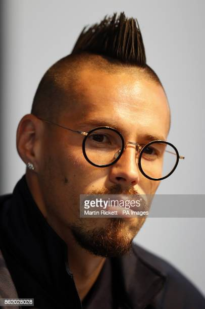 Napoli's Marek Hamsik during a press conference at the Etihad Stadium Manchester