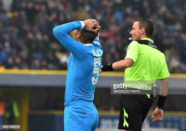 Napoli's midfielder from Brazil Allan reacts after missing a goal during the Italian Serie A football match Bologna vs Napoli at the Dall'Ara stadium...