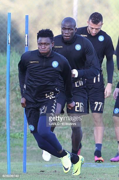 Napoli's midfielder from Guinea Amadou Diawara Napoli's defender from France Kalidou Koulibaly and Napoli's midfielder from Morocco Omar El Kaddouri...