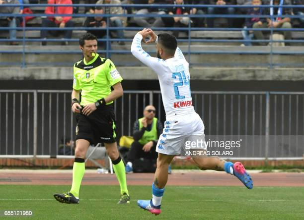Napoli's midfielder from Italy Lorenzo Insigne celebrates after scoring against Empoli during the Italian Serie A football match Empoli versus Napoli...