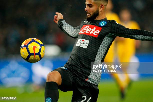 Napoli's midfielder from Italy Lorenzo Insigne controls the ball during the Italian Serie A football match Napoli vs Juventus on December 1 2017 at...