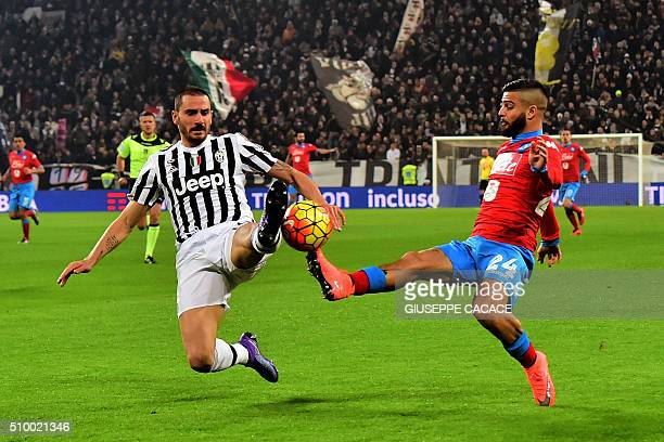 Napoli's midfielder from Italy Lorenzo Insigne fight for the ball with Juventus' defender from Italy Leonardo Bonucci during Italian Serie A football...