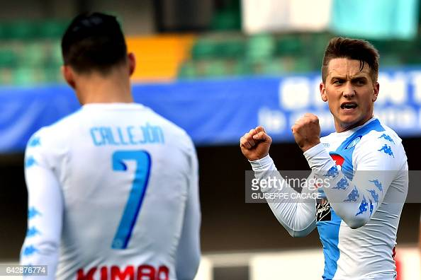 Napoli's midfielder from Poland Piotr Zielinski celebrates after scoring a goal during the Italian Serie A football match Chievo vs Napoli at...