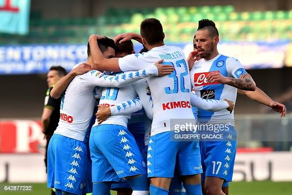 Napoli's midfielder from Poland Piotr Zielinski celebrates with Napoli's Slovakian midfielder Marek Hamsik after scoring during the Italian Serie A...