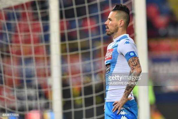 Napoli's midfielder from Slovakia Marek Hamsik celebrates after scoring a goal during the Italian Serie A football match Bologna vs Napoli at 'Renato...