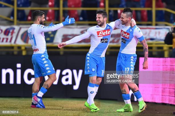 Napoli's midfielder from Slovakia Marek Hamsik celebrates after scoring a goal with Napoli's forward from Belgium Dries Mertens and Napoli's...