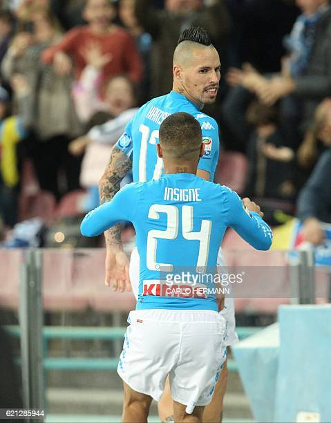 Napoli's midfielder from Slovakia Marek Hamsik celebrates after scoring during the Italian Serie A football match SSC Napoli vs SS Lazio on November...