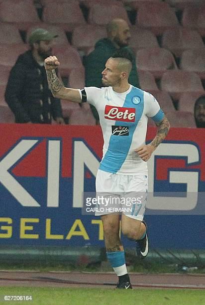 Napoli's midfielder from Slovakia Marek Hamsik celebrates after scoring during the Italian Serie A football match SSC Napoli vs Inter Milan on...