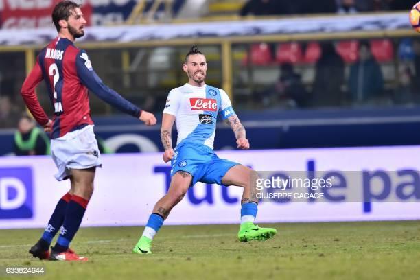 Napoli's midfielder from Slovakia Marek Hamsik kicks and scores during the Italian Serie A football match Bologna vs Napoli at 'Renato Dall'Ara...