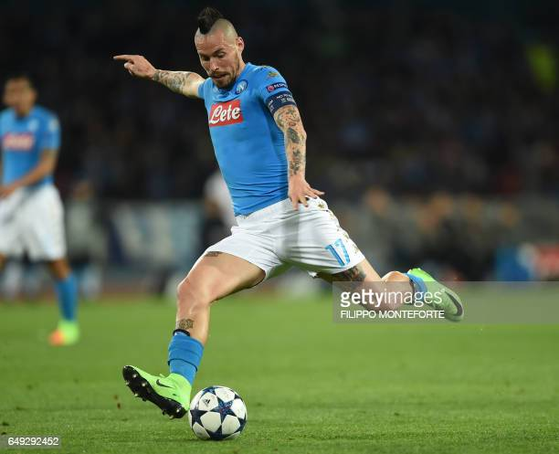Napoli's midfielder from Slovakia Marek Hamsik kicks the ball during the UEFA Champions League football match SSC Napoli vs Real Madrid on March 7...