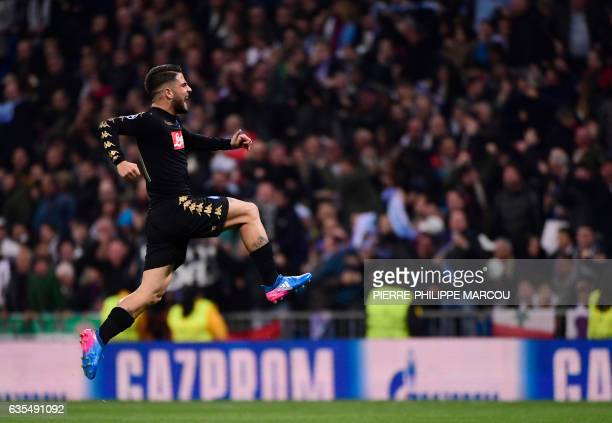 Napoli's midfielder Lorenzo Insigne celebrates a goal during the UEFA Champions League round of 16 first leg football match Real Madrid CF vs SSC...
