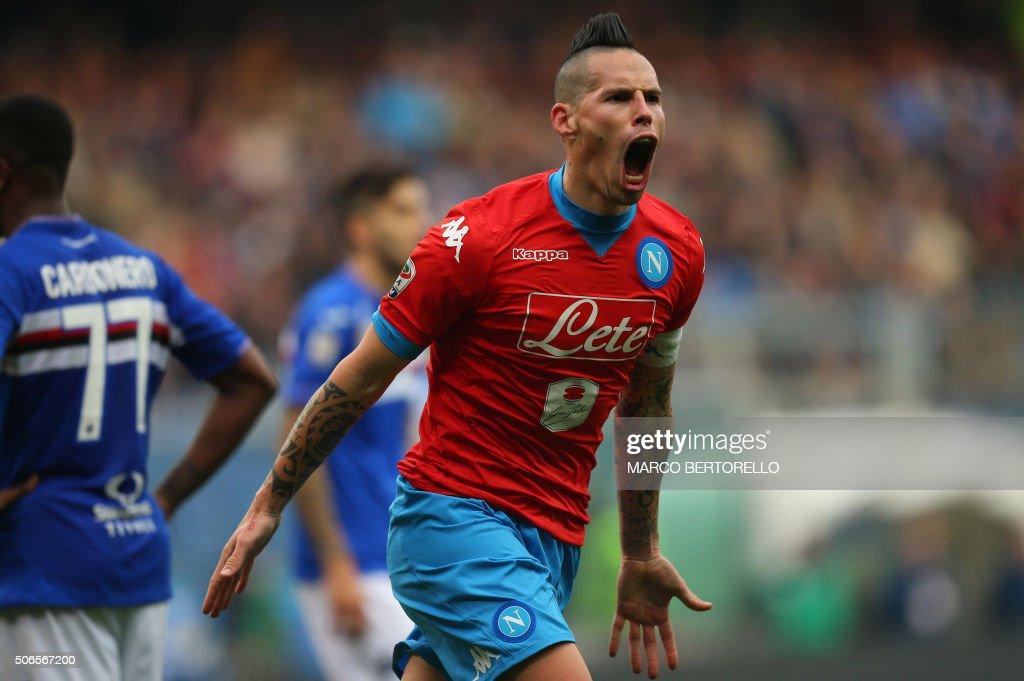 TOPSHOT Napoli's midfielder Marek Hamsik from Slovakia celebrates after scoring during the Italian Serie A football match Sampdoria Vs Napoli on...