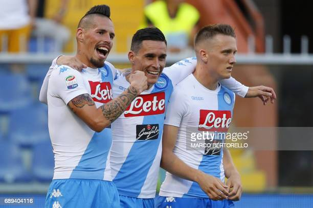 Napoli's midfielder Marek Hamsik from Slovakia celebrates after scoring with teammates Napoli's forward Jose Maria Callejon and Napoli's midfielder...