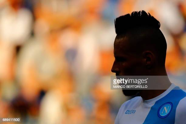 Napoli's midfielder Marek Hamsik from Slovakia is silhouetted during the Italian Serie A football match Sampdoria Vs Napoli on May 28 2017 at the...