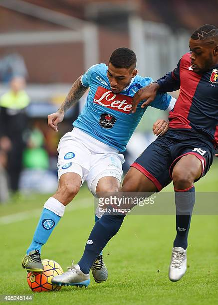 Napoli's player Allan vies with Genoa player Olivier Ntcham during the Serie A match between Genoa CFC and SSC Napoli at Stadio Luigi Ferraris on...