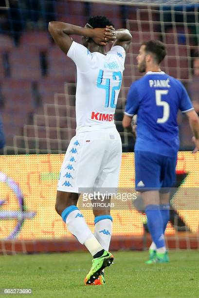 STADIUM NAPOLI CAMPANIA ITALY Napoli's player Amadou Diawara leave the field disappointed during the Italian Tim Cup football match between SSC...