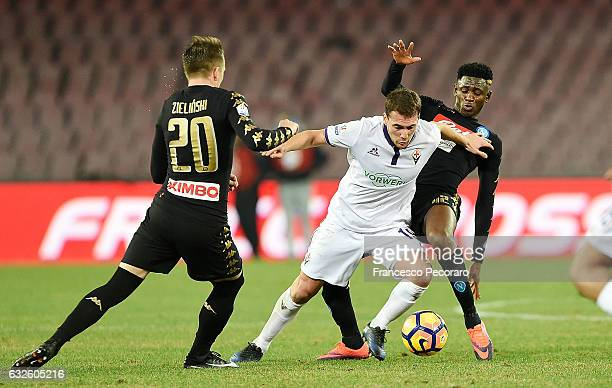 Napolis player Amadou Diawara vies with ACF Fiorentina player Sebastian Cristoforo during the TIM Cup match between SSC Napoli and ACF Fiorentina at...