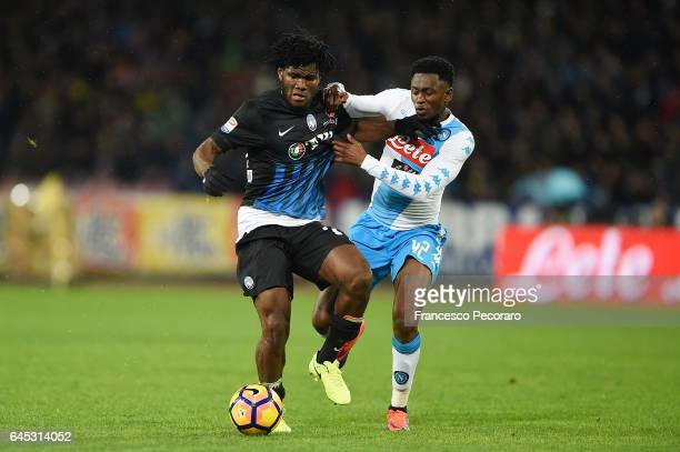 Napolis player Amadou Diawara vies with Atalanta BC player Frank Kessie during the Serie A match between SSC Napoli and Atalanta BC at Stadio San...