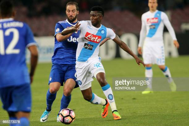 STADIUM NAPOLI CAMPANIA ITALY Napoli's player Amadou Diawara vies with Juventus' player Gonzalo Higuain during the Italian Tim Cup football match...