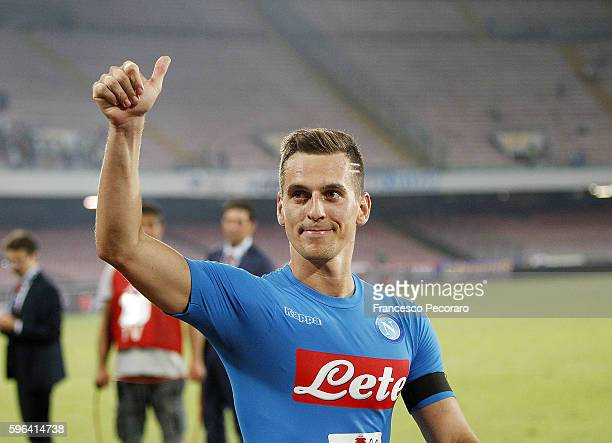 Napoli's player Arkadiusz Milik celebrate the victory after the Serie A match between SSC Napoli and AC Milan at Stadio San Paolo on August 27 2016...