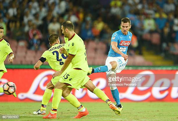 Napolis player Arkadiusz Milik scores the goal of 31 during the Serie A match between SSC Napoli and Bologna FC at Stadio San Paolo on September 17...