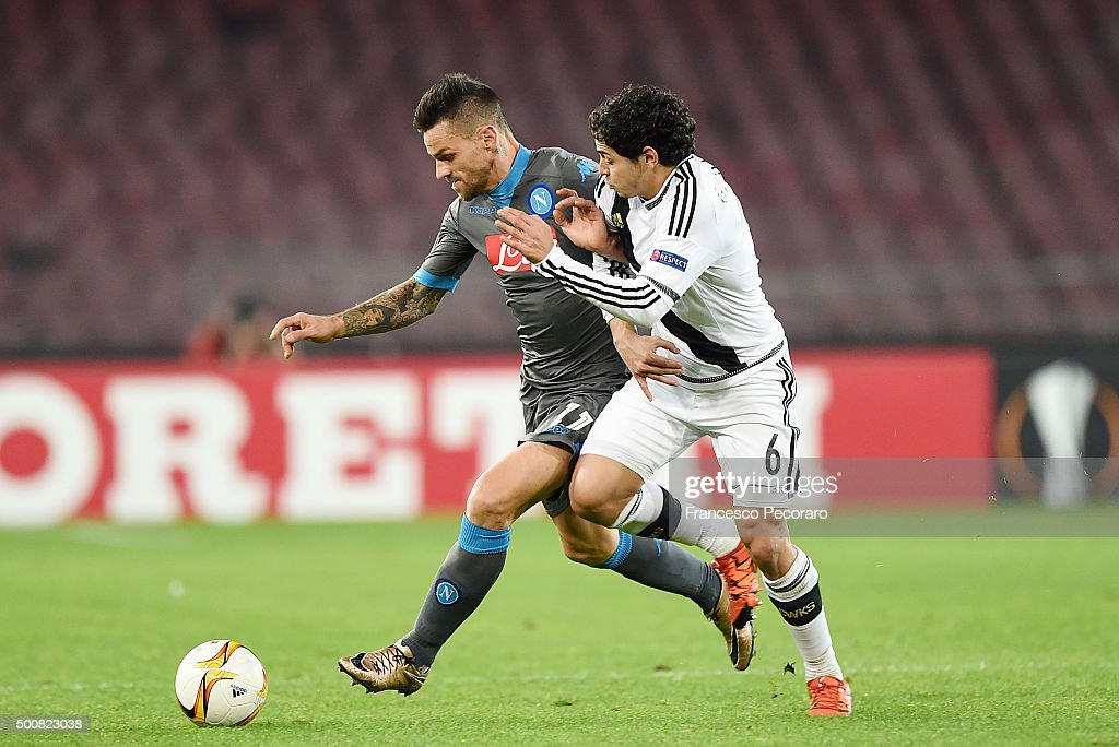 Napoli's player Christian Maggio vies with Legia Warszawa player Guilherme during the UEFA Europa League Group D match between SSC Napoli and Legia...