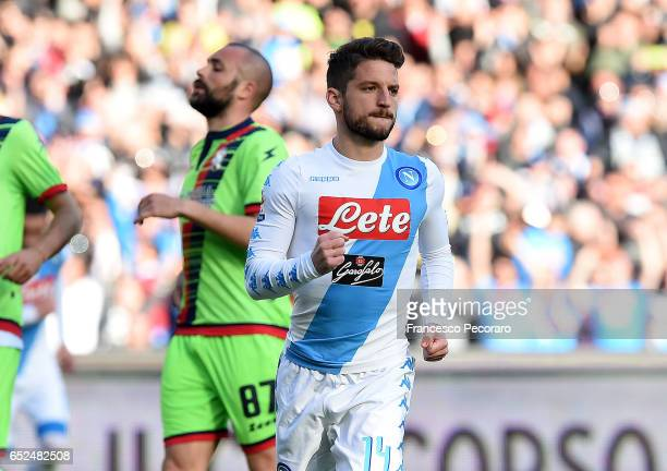 Napolis player Dries Mertens celebrates after scoring goal 20 during the Serie A match between SSC Napoli and FC Crotone at Stadio San Paolo on March...
