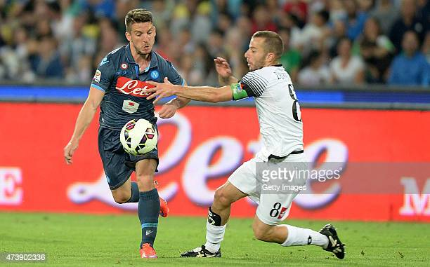 Napoli's player Dries Mertens vies with AC Cesena player Giuseppe De Feudis during the Serie A match between SSC Napoli and AC Cesena at Stadio San...