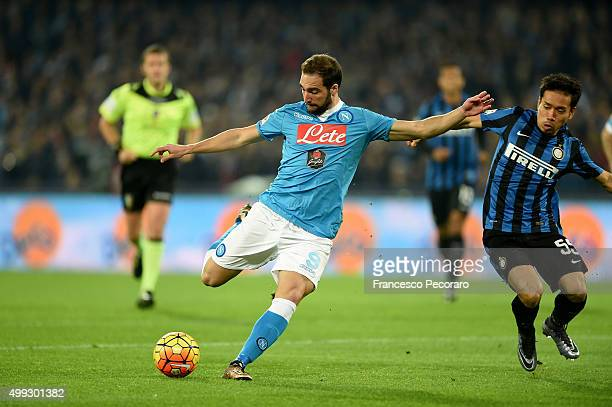 Napoli's player Gonzalo Gerardo Higuain scores the goal of 10 during the Serie A match between SSC Napoli and FC Internazionale Milano at Stadio San...