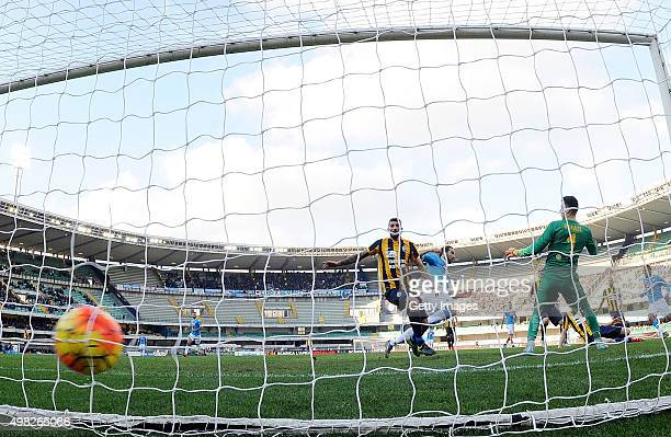 Napoli's player Gonzalo Gerardo Higuain scores the goal of 20 during the Serie A match between Hellas Verona FC and SSC Napoli at Stadio MarcAntonio...