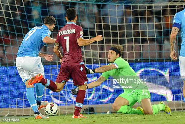 Napoli's player Gonzalo Gerardo Higuain scores the goal of 22 during the Serie A match between SSC Napoli and SS Lazio at Stadio San Paolo on May 31...