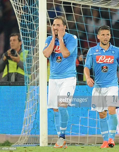Napoli's player Gonzalo Higuain stands disappointed during the Serie A match between SSC Napoli and SS Lazio at Stadio San Paolo on May 31 2015 in...