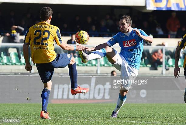 Napoli's player Gonzalo Higuain vies with Hellas Verona player Matteo Bianchetti during the Serie A match between Hellas Verona FC and SSC Napoli at...