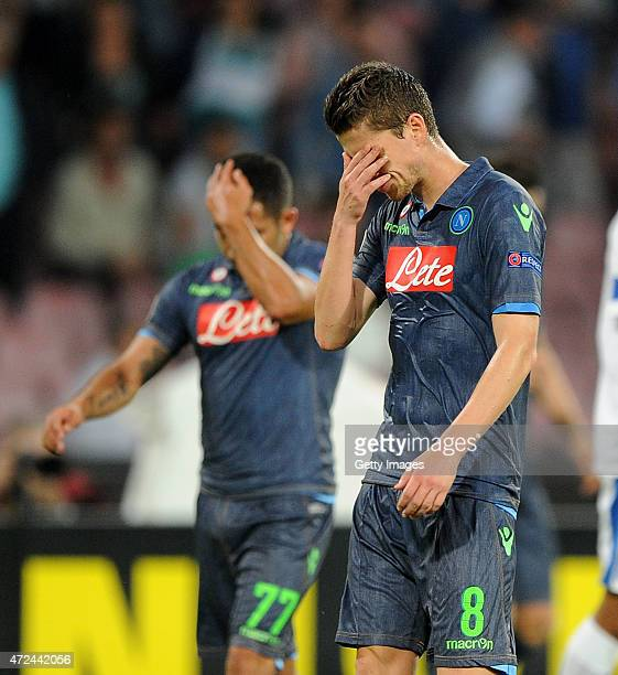 Napoli's player Jorginho and Walter Gargano stands disappointed during the UEFA Europa League Semi Final between SSC Napoli and FC Dnipro...