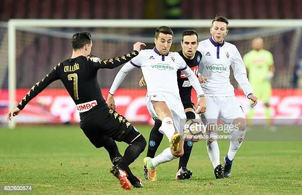 Napolis player Jose Callejon and Nikola Maksimovic vies with ACF Fiorentina player Matias Vecino and Federico Bernardeschi during the TIM Cup match...